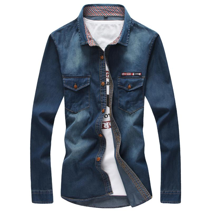 0fc446920f9e8 2019 2018 Camisa Jeans Masculina Blue Jeans Shirts Mens Cowboy Shirts Mens  5XL Gomlek Slim Fit Blusas Masculina Casual Chemise Homme From Shipsoon, ...