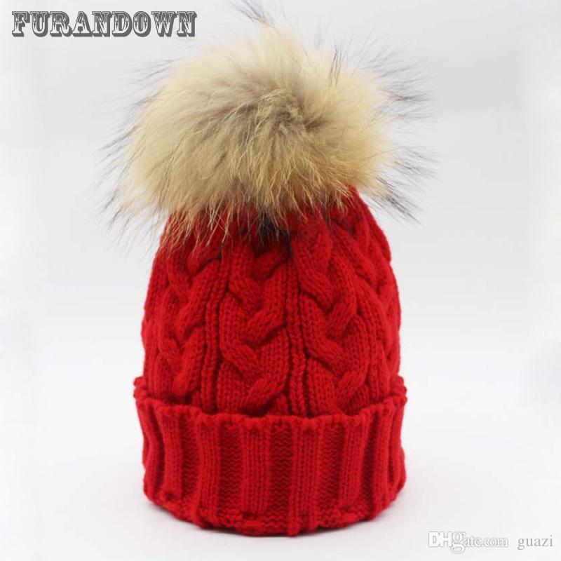 f2d2a62cd44 Winter Womens Beanies Real Raccoon Fur Hats With 15cm Fur PomPoms For Women  Men Hip Hop Skullies Cap Russia Hats Baseball Cap Slouchy Beanie From  Guazi