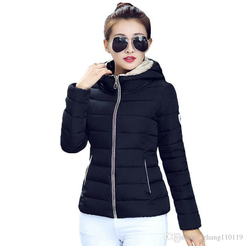 52c6fbd6e 2018 Winter Jacket Women Hooded Parka Slim Cotton-Padded High Neck Candy  Color Cotton Jacket Coat Plus Size