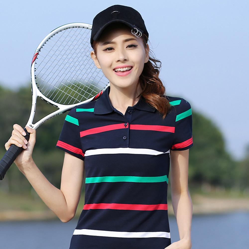New Striped Tennis Golf T-shirt Female Short-sleeved Summer Cotton Large  Size Thin Loose Sports Polo Shirt High Quality