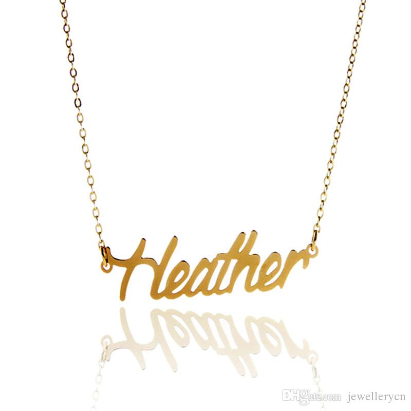 5ef5f4b58fe5d Custom name necklace for Women gold & silver letters Heather Stainless  Steel Personalized Pendant Nameplate Necklace ,NL-2404