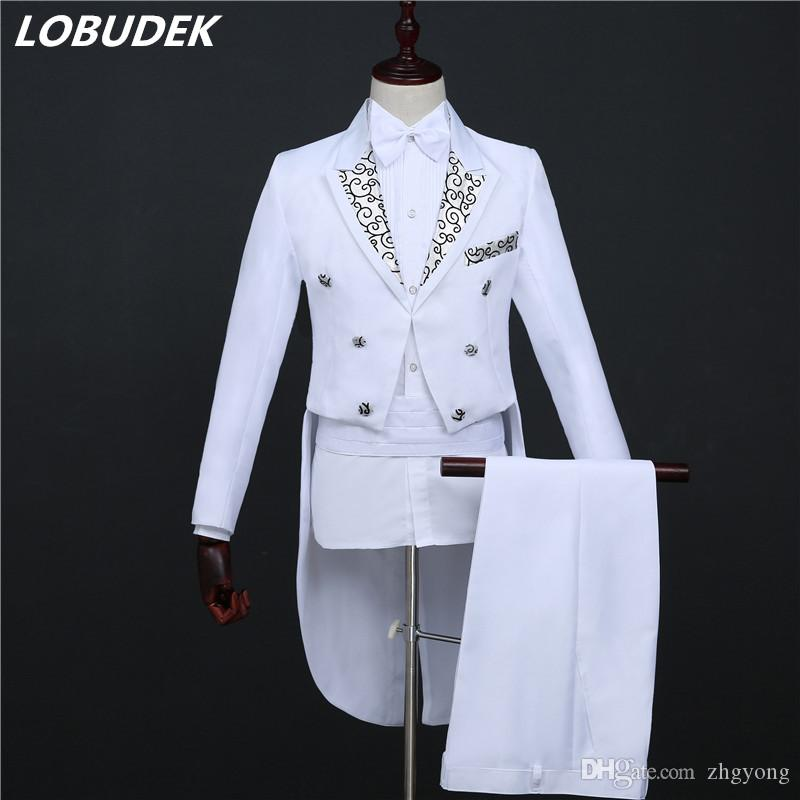 2019 Black White Mens Suits Choral Dress Formal Tuxedo Costume