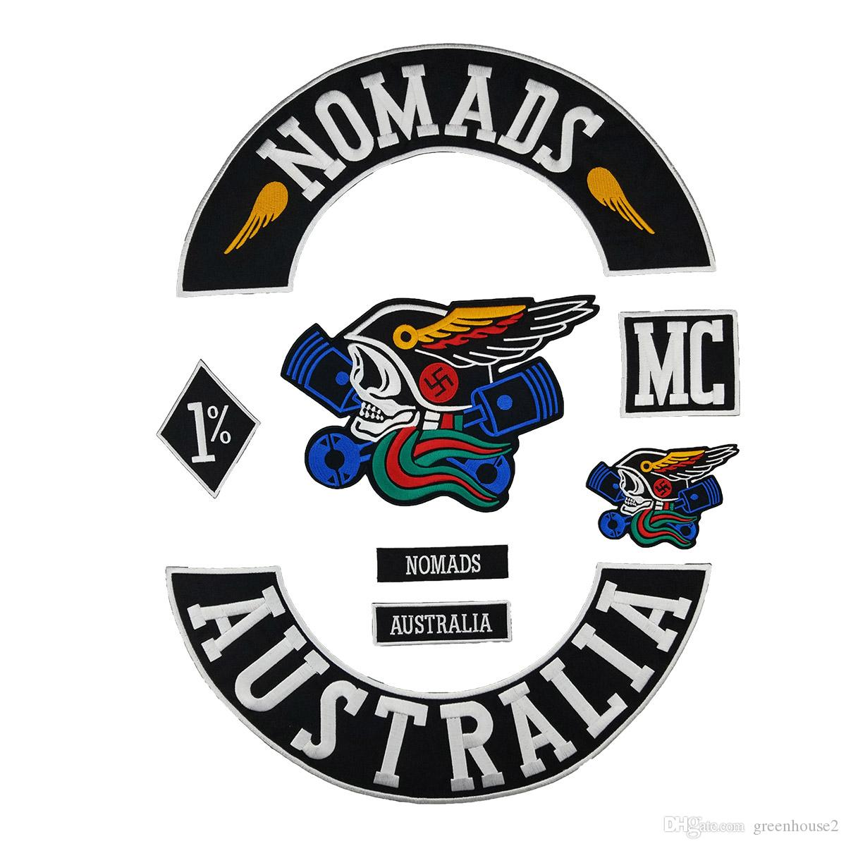 New NOMADS AUSTRALIA 1% MC Biker Patch MC Embroidered Full Back Large Pattern For Rocker Biker Vest Patches for clothing Free Shipping