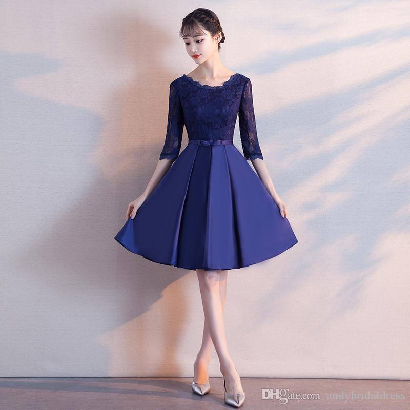 Half Sleeve Dark Blue Mother Of The Bride Dresses Knee Length Lace