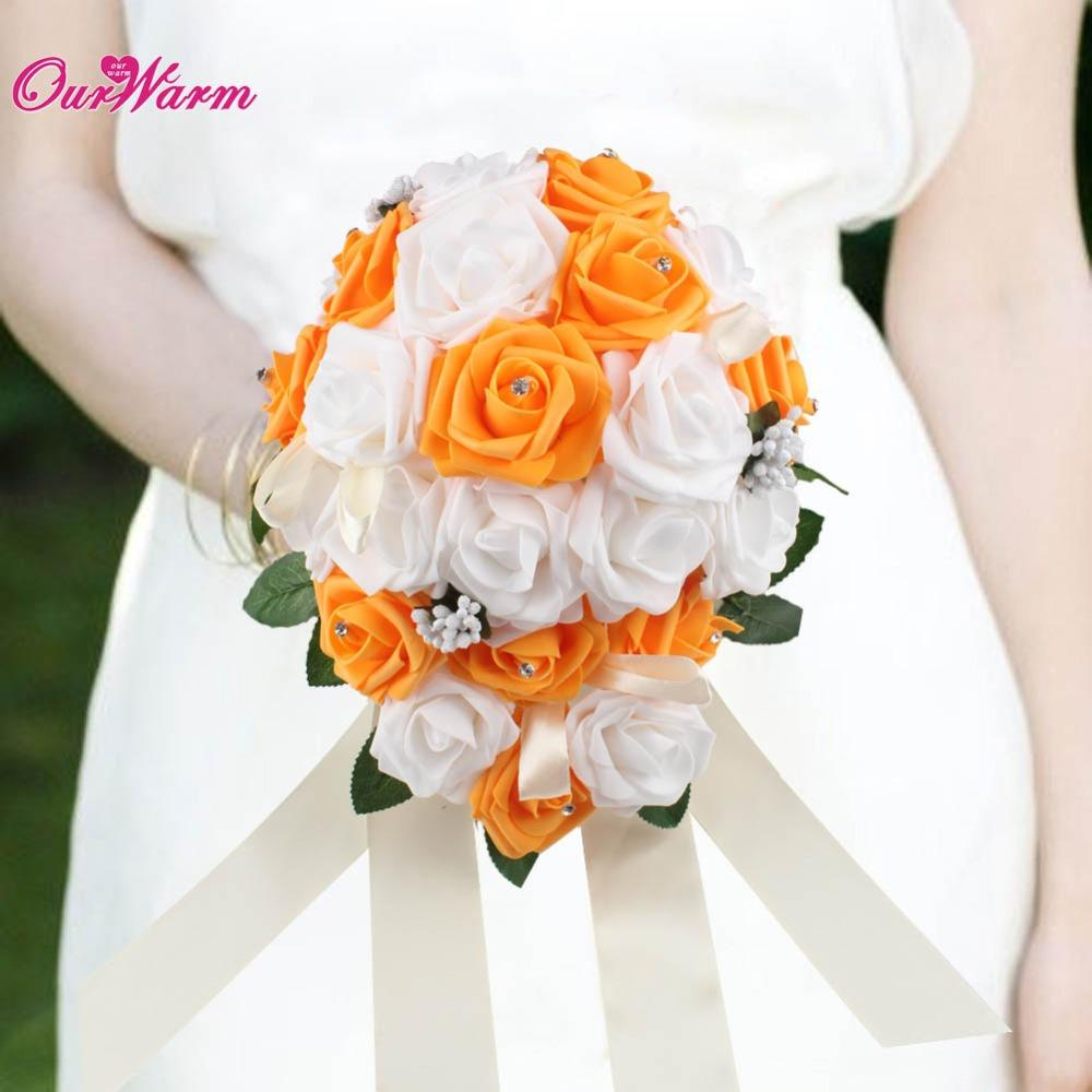 Beautiful Artificial Flowers Bridal Rose Bouquet Handmade Silk