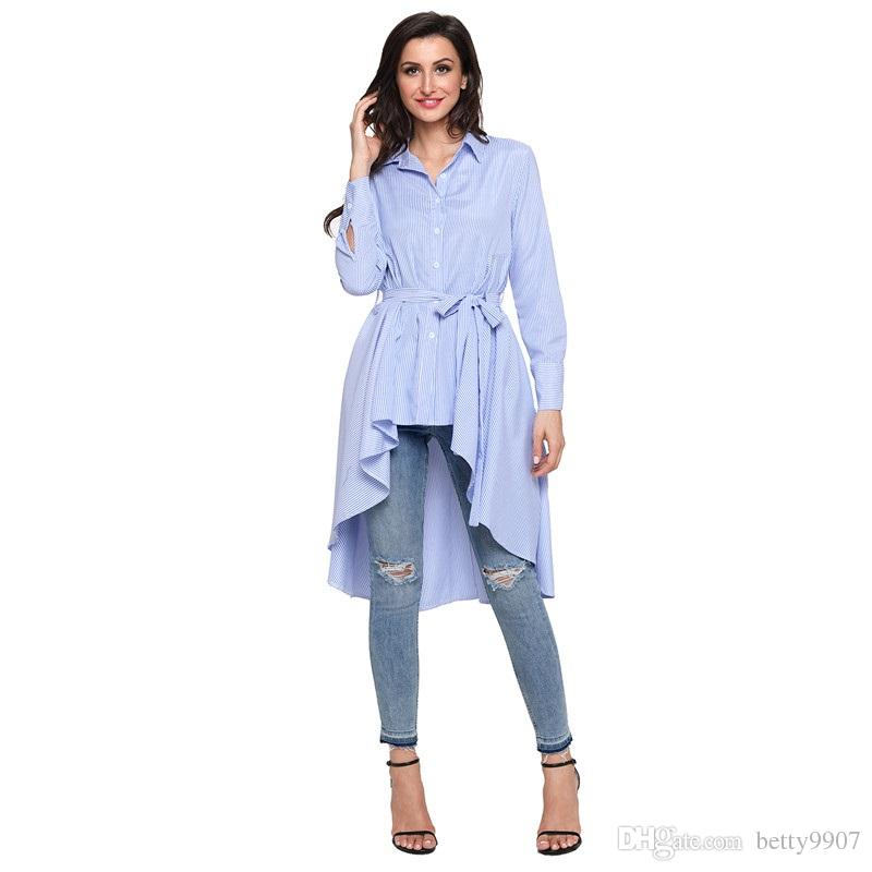 9575e3353a0 2019 Designer Stripe Blouse Shirt Women Clothes Plus Size Office Ladies  Button Front Autumn Long Sleeve Lapel High Low Belted Tunic Top From  Betty9907