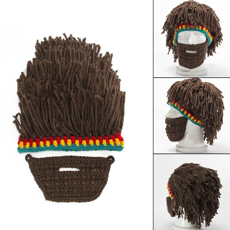 2019 Handmade Knit Wig Beard Hats Caveman Winter Warm Caps Men Women  Halloween Gifts Party Beanies Best Sale WT From Navyjewelry a74875d588b