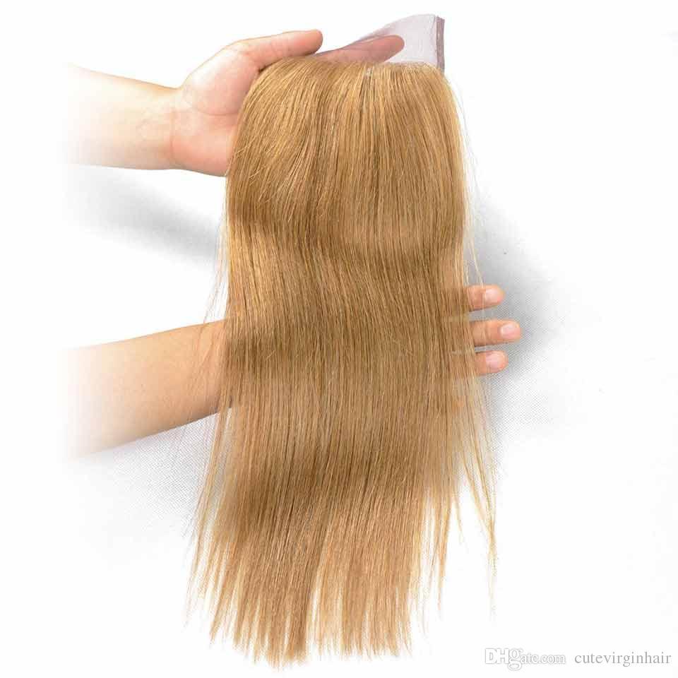Fermeture de lacet de cheveux de couleur pure vendeurs brésiliens de cheveux humains 4x4 de fermeture de lacet de couleur 27 30 33 99J miel blonde moyenne Auburn rouge foncé