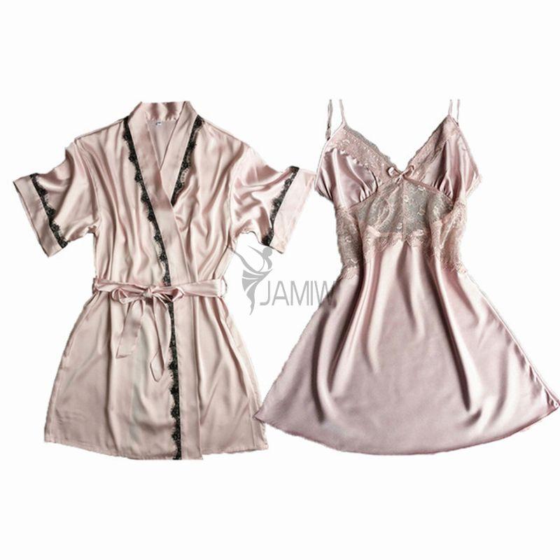 ec8d9a7fdfd9 2019 Brand Two Pieces Women S Robe   Gown Sets Short Sleeve Bridesmaid  Wedding Kimono Bathrobe + Night Dress Sexy Nightwear From Beimu