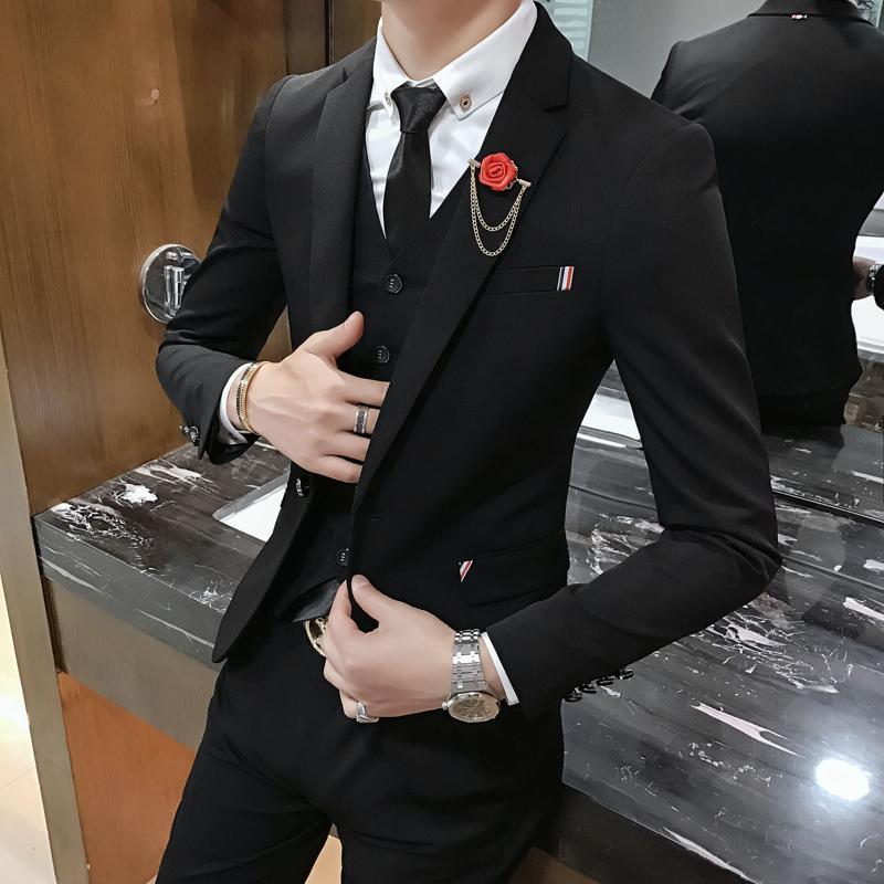 release date: a5d9f 508c7 Completo da uomo stile inglese completo da 3 pezzi (giacche pantaloni  gilet) Slim Elemale Blazer Suits S-2XL