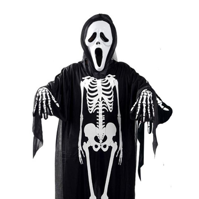 Halloween Skeleton.Halloween Skeleton Demon Ghost Costumes Set Screaming Mask Skull Clothes Scary Gloves For Children Adults Halloween Fancy Party