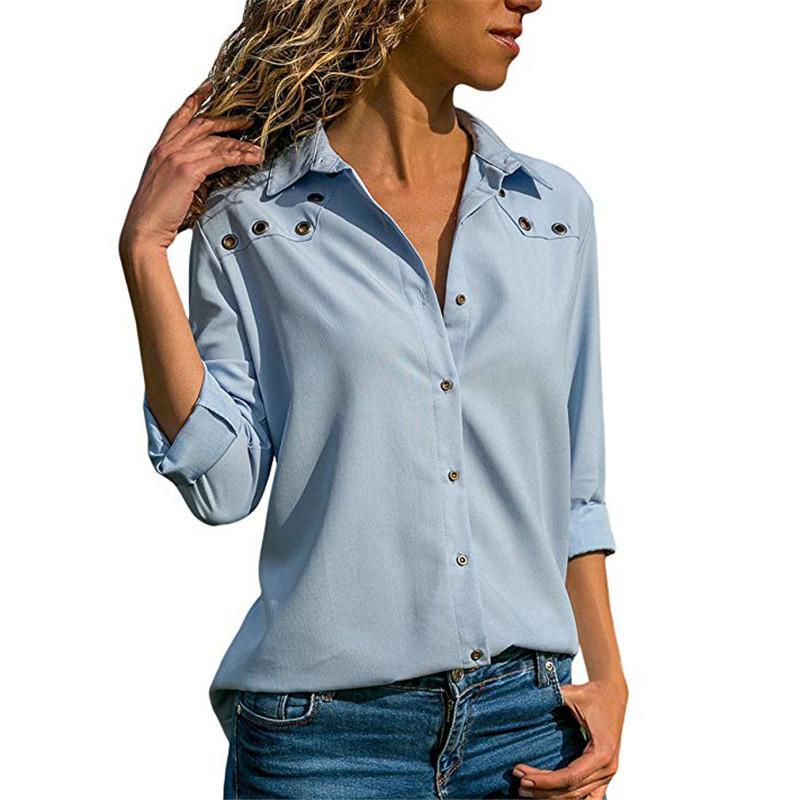 3ab1cf28d889 Compre Blusas De Las Mujeres 2018 Otoño Blusa De Manga Larga De Lentejuelas  De Señoras De La Oficina Camisa Sólida Turn Down Collar Botón Tops Blusas  Mujer ...