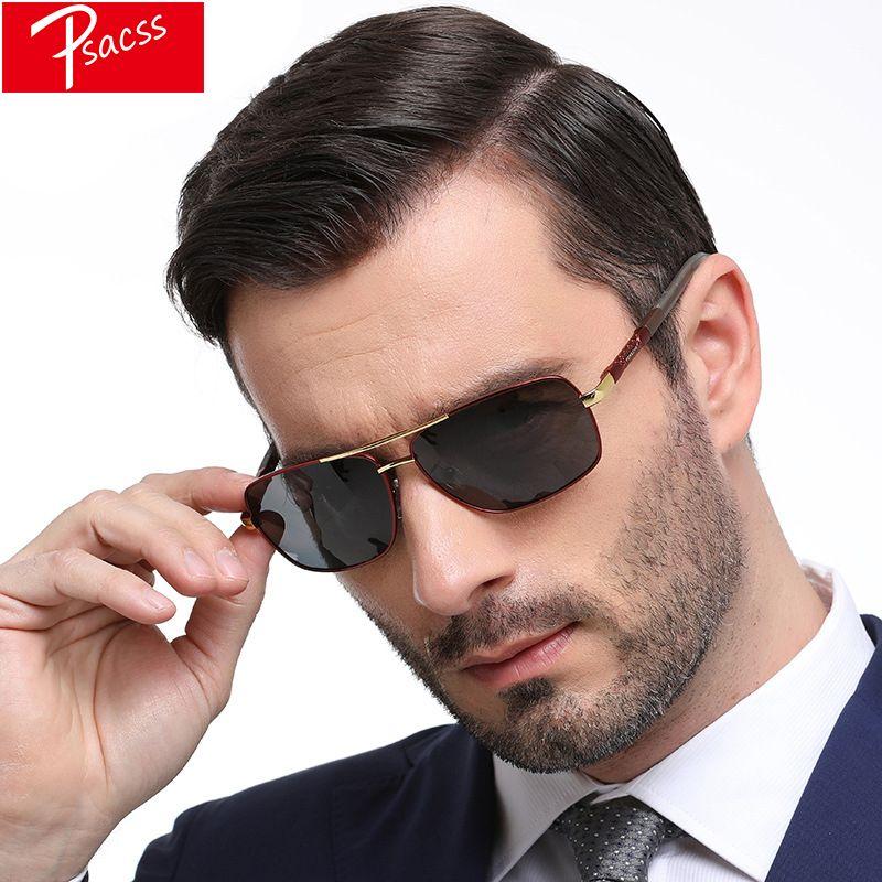 07b83a83a Compre Espetáculos Dos Homens Psacss Polarized Óculos De Sol Masculino  Armação De Metal HD Lens Goggle Óculos De Sol De Condução De Vidro Para  Homens Oculos ...