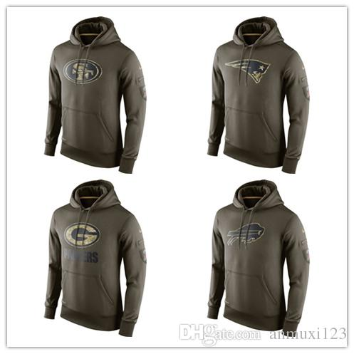 2106e69b2 2019 San Francisco New Englandes Green Bay 100% Cotton Buffalo Sweatshirt  49er Patriots Packers Bills Olive Salute To Service Hoodie From Zsyandsii,  ...