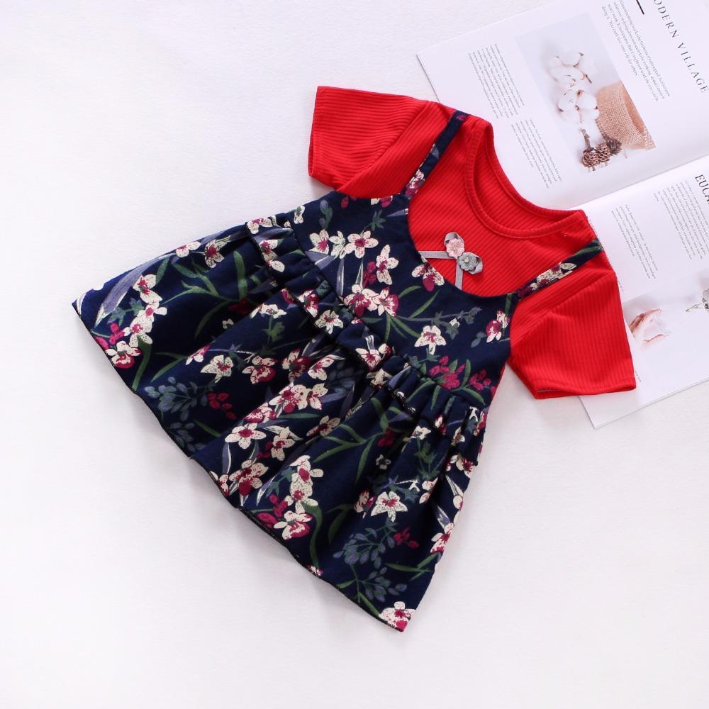 b000162285c4 Compre Bibicola Verano Bebé Niñas Vestido De Moda Infantil Falso Dos Piezas  Vestidos De Flores Vestidos De Princesa Fiesta Weding Cumpleaños A $33.77  Del ...