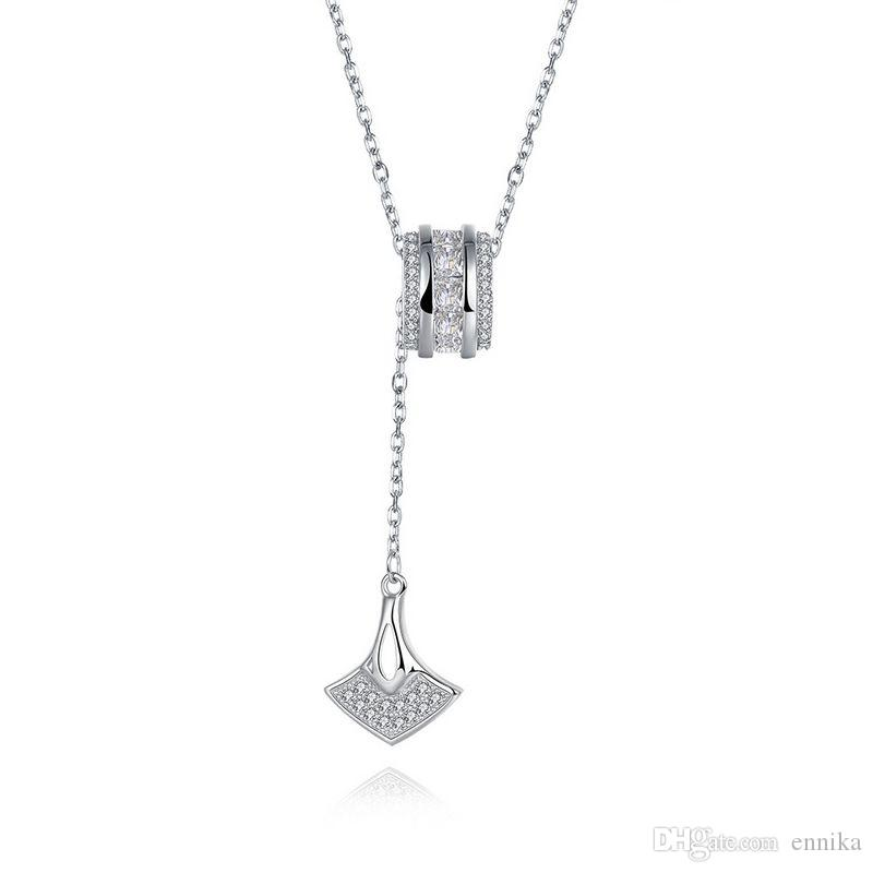Sterling Silver 925 Necklace Lady Party Jewelry Pure Silver Beads Charms Zircon Pendant Necklace n080