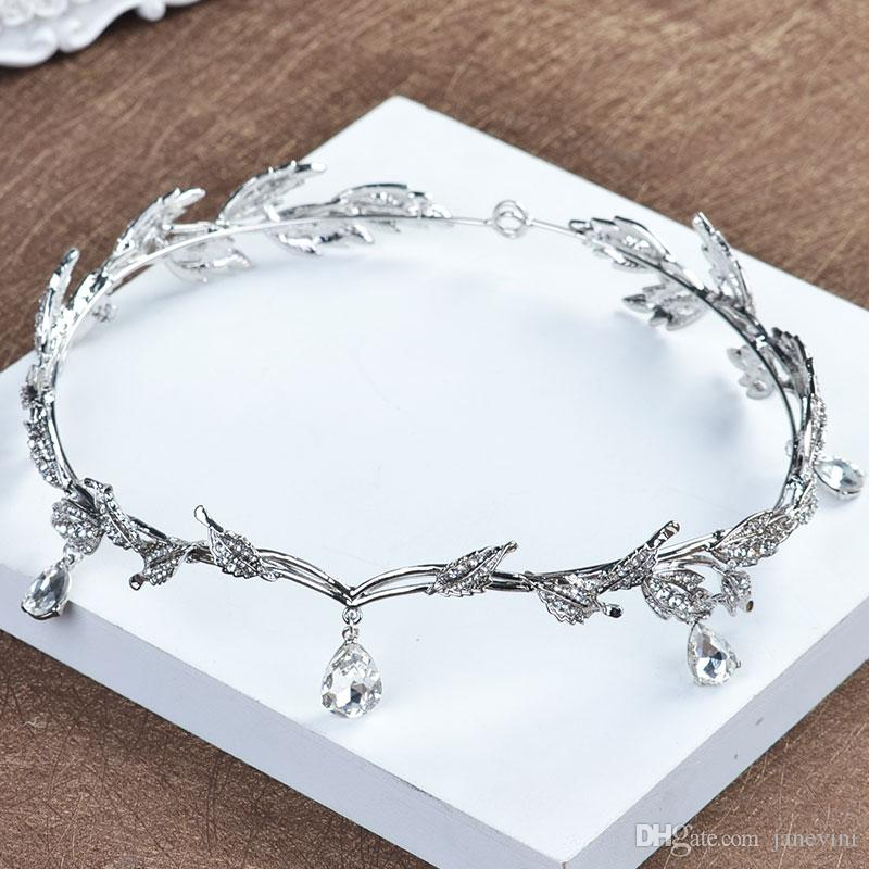 JaneVini 2018 Baroque Vintage Princess Silver Shiny Headbands For Wedding Handmade Bridal Headpieces Crystal Pageant Hair Accessories New