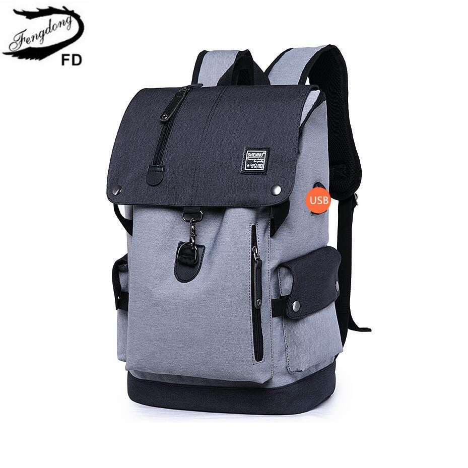 f819ffa4bf32 FengDong High School Backpack Waterproof School Bags For Boys Big Usb  Backpack Anti Theft Bag Men Travel Bags Schoolbag Boy Gift Y18100704 Boys  Backpacks On ...