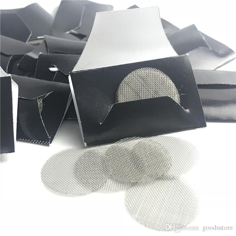 Acciaio inossidabile fumatori schermi del tubo con 20 mm di nastro di filtrazione di supporto di vetro Bong Bowl secco Herb Tabacco 5 Pezzi / Set