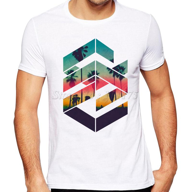 32cf1910990 Newest Summer Fashion Geometric Sunset Beach Design T Shirt Men  S Cool  Design High Quality Tops Custom Hipster Tees Funny Rude T Shirts Trendy  Mens T ...