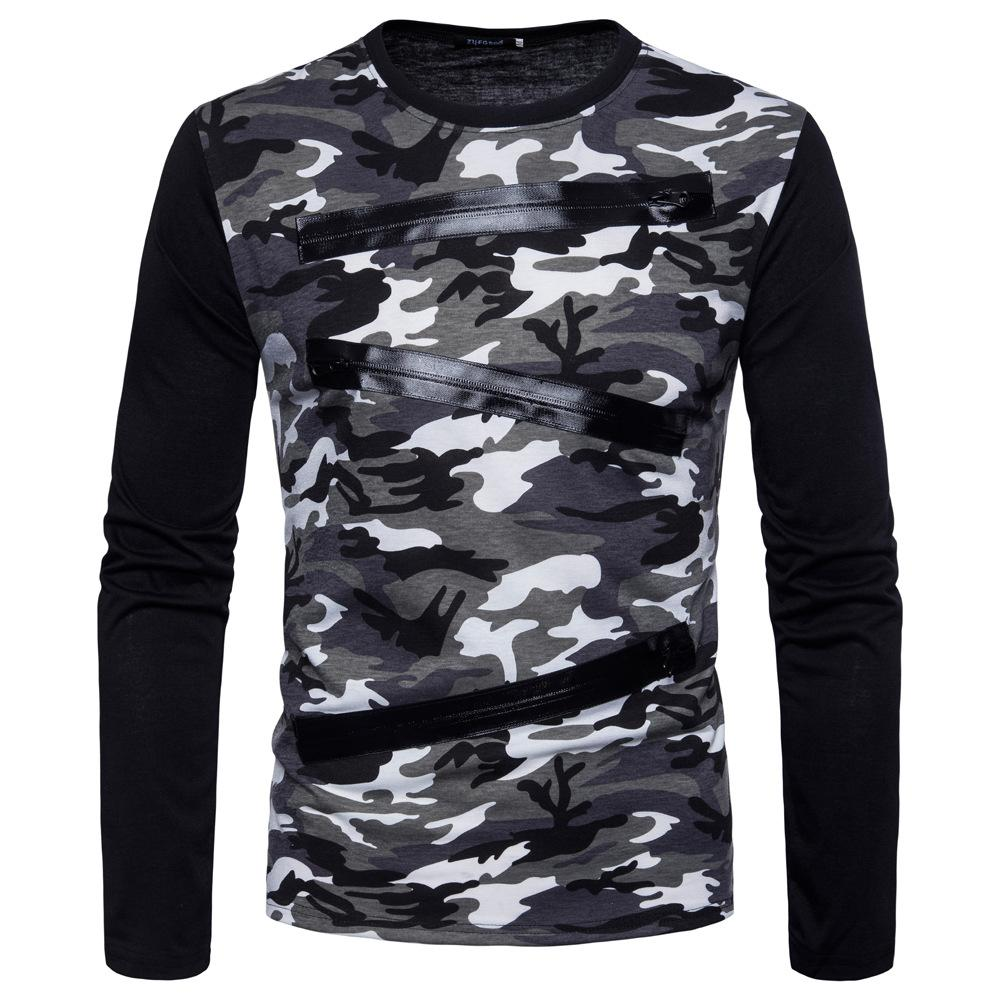 dd3565fc 2018 spring new long-sleeved camouflage T-shirt new men's round neck  fashion Slim T-shirt comfortable breathable