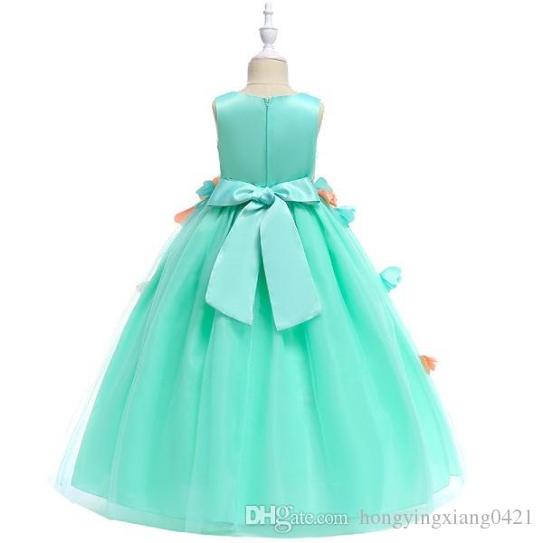 Flower Girl Dress Evening Long Gowns for Teen Girls 3D Petal Embroider Princess Sleeveless Party Dresses KA810