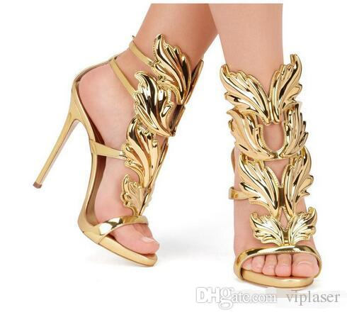 wholesaleand Top Brand Summer New Design Women Fashion Cheap Gold Silver Red Leaf High Heel Peep Toe Dress Sandals Shoes Pumps Women