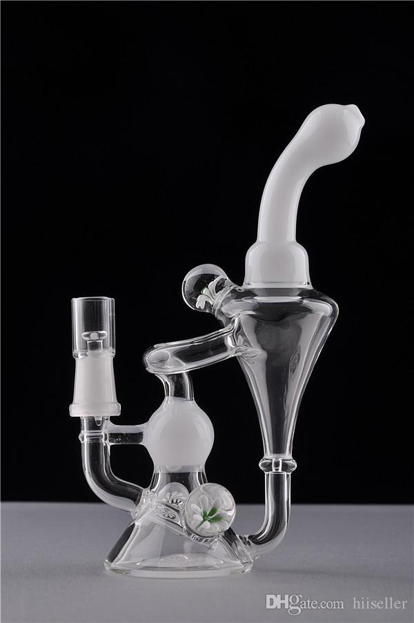 Glass Bongs Recycler Rigs Olio Rigs Narghilè Tubi di vetro di vetro spesso Bent Tipo Berretto a nido d'ape Accessorio fumatori 14mm Ciotola congiunta