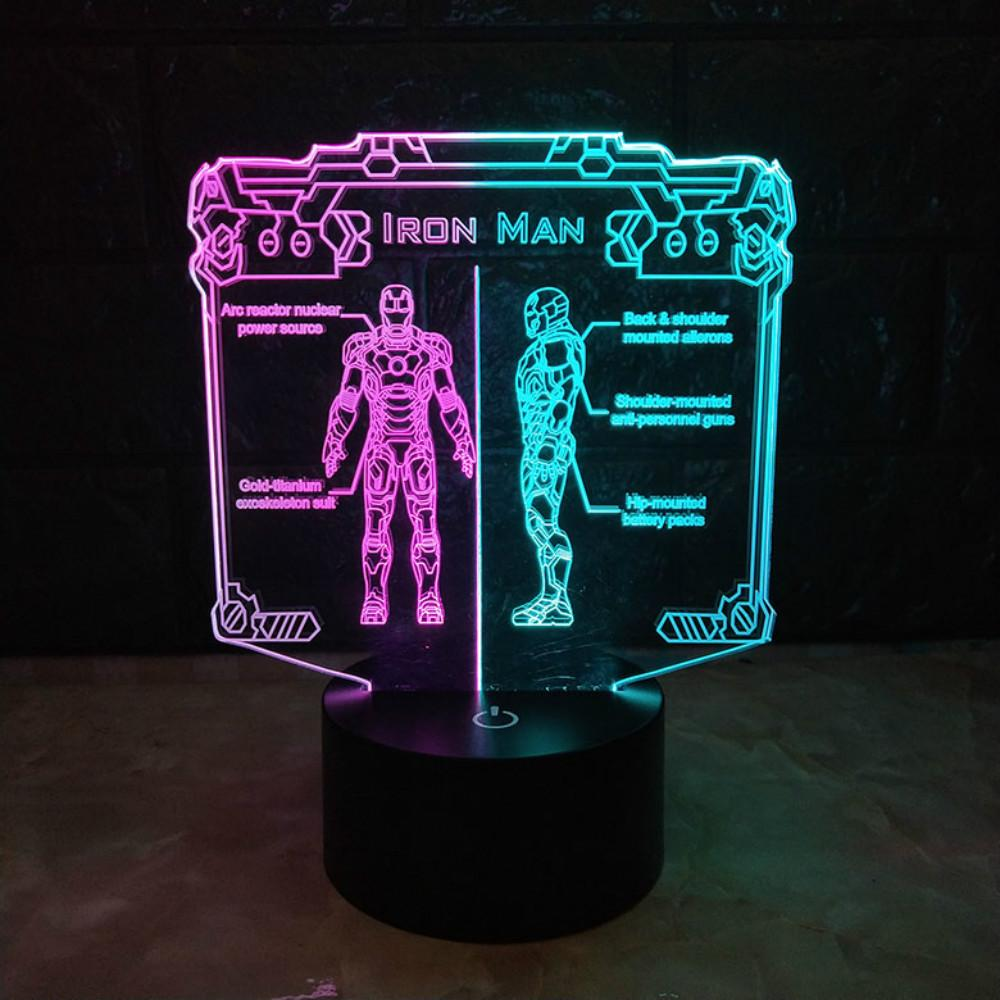 Ironman Double Color 3D Led Night Light Lamp Ironman USB LED Lighting  Nightlight Iron Man Action Figure For Kids Gift Wholesale Dropshipping