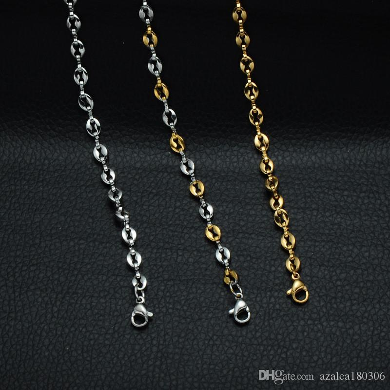 Coffee Bean Necklace Simple Style Stainless Steel Men Chain Necklace Three Colors Optional Chain Long 60cm