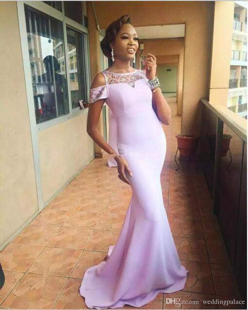 2018 recién llegado de color rosa claro sirena vestidos de dama de honor de encaje de manga corta con apliques encantadores vestidos de noche formales