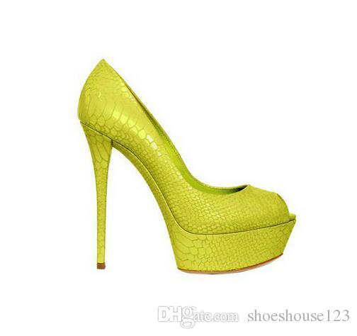 Heels Großhandel High Nachtclub Super Neongelb Frauen Grün Schuhe EDHW92I