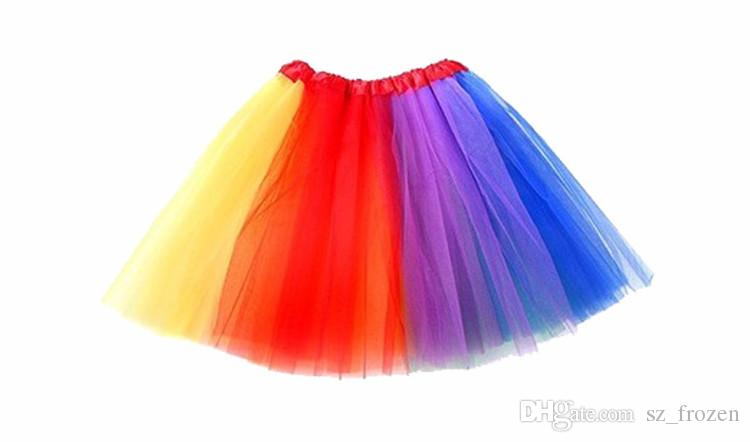Rainbow Dress INS Neonate Childrens Kids Dancing Tulle Tutu Gonne Party Dancewear Ballet Dress with Headwear Guanti e calze