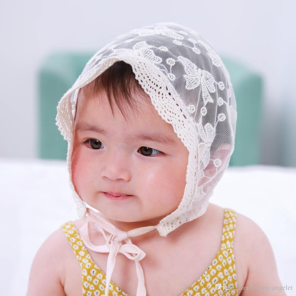 3600a3484 5pcs summer girl baby lace basin hat children hollow breathable fisherman  cap outdoor visor for 3-24 months children MZ04