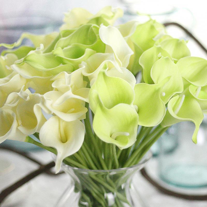 Popular Pu Artificial Calla Lily Bridal Wedding Bouquets Latex Real