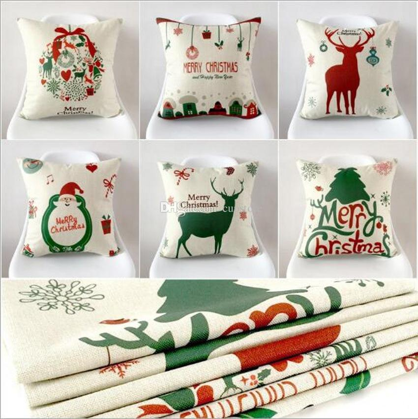 Compre Funda De Cojín De Navidad Throw Pillow Case Imprimir Sofá ...