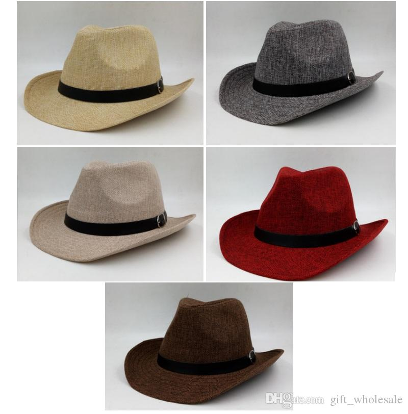 2018 Men Summer Linen Straw Hat With Black Belt Wide Edge Designer Cowboy  Panama Hat Cap Summer Sun Beach Caps Fisherman Jazz Wide Brim Hat Tea Party  Hats ... b876421f32b0