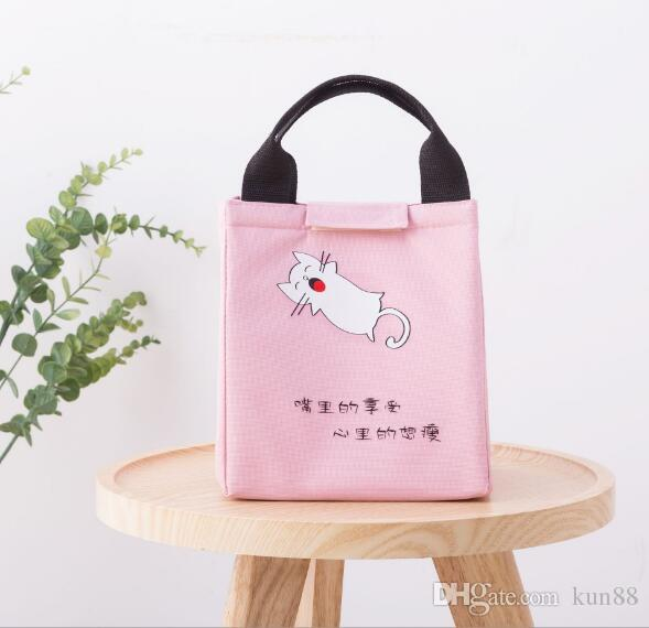 Portable cold portable ice pack canvas lunch aluminum lunch bag outdoor picnic cartoon refrigerated insulation package