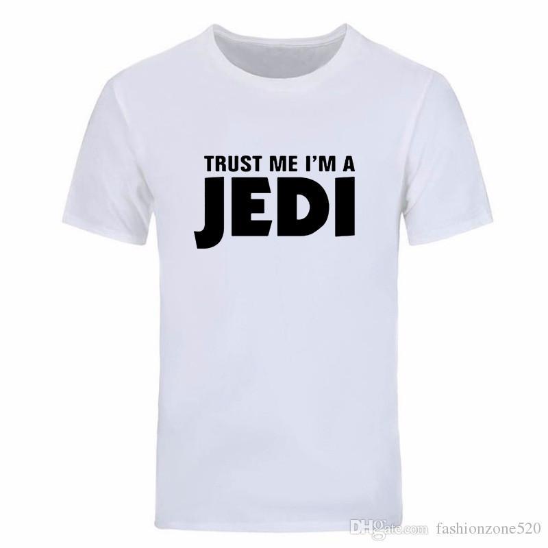 Moda de verano CONFÍE EN MÍ SOY UNA camiseta de JEDI Para hombres O Cuello de manga corta de algodón Hip Hop camiseta estampada DIY-0295D