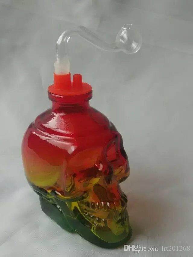Cachimbo de osso do crânio colorido Atacado bongos de Vidro Queimador de Óleo de Tubos de Tubos De Água Tubos de Vidro de Petróleo Plataformas de Petróleo Frete Grátis