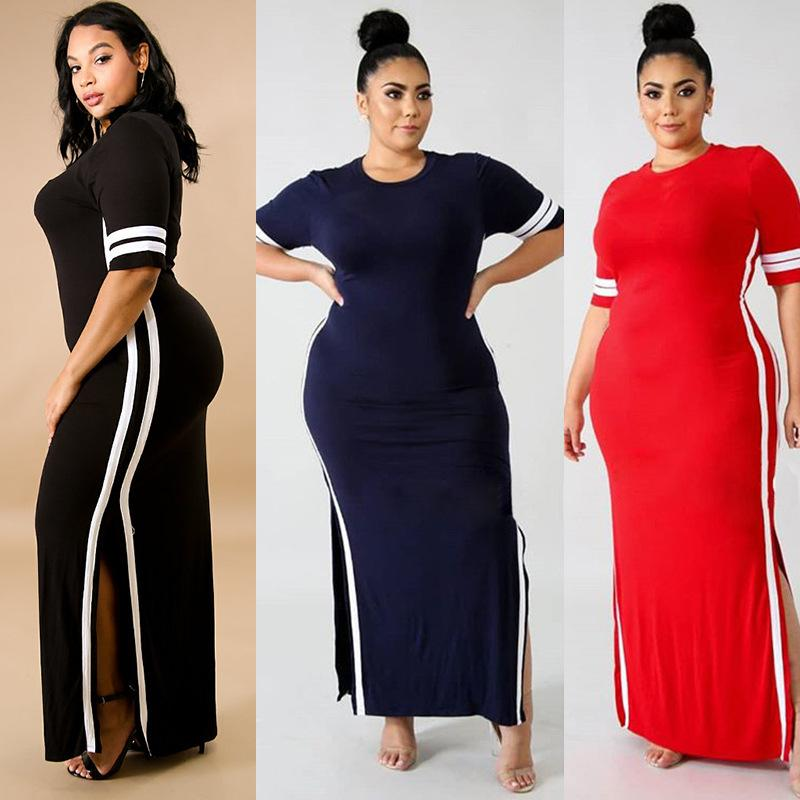 609266c7aa3c Women Dress 2018 New Casual Loose Maxi Long Party Dresses Sexy O Neck  Striped Long Sleeve Split Hem Knitted Vestidos Plus Size Sundress Womens  Lace Dress ...