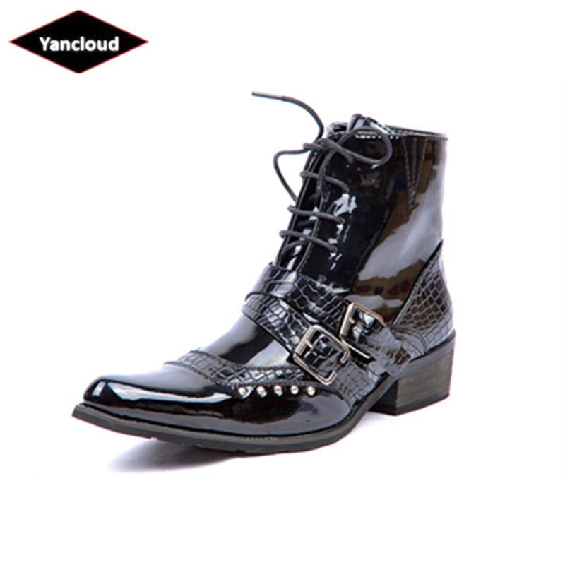 6b98e6b35e2 Mens Pointed Toe Patent Leather Rivet Martin Boots 2018 Fashion Punk Rock  Ankle Boots Work Shoes for Man Winter