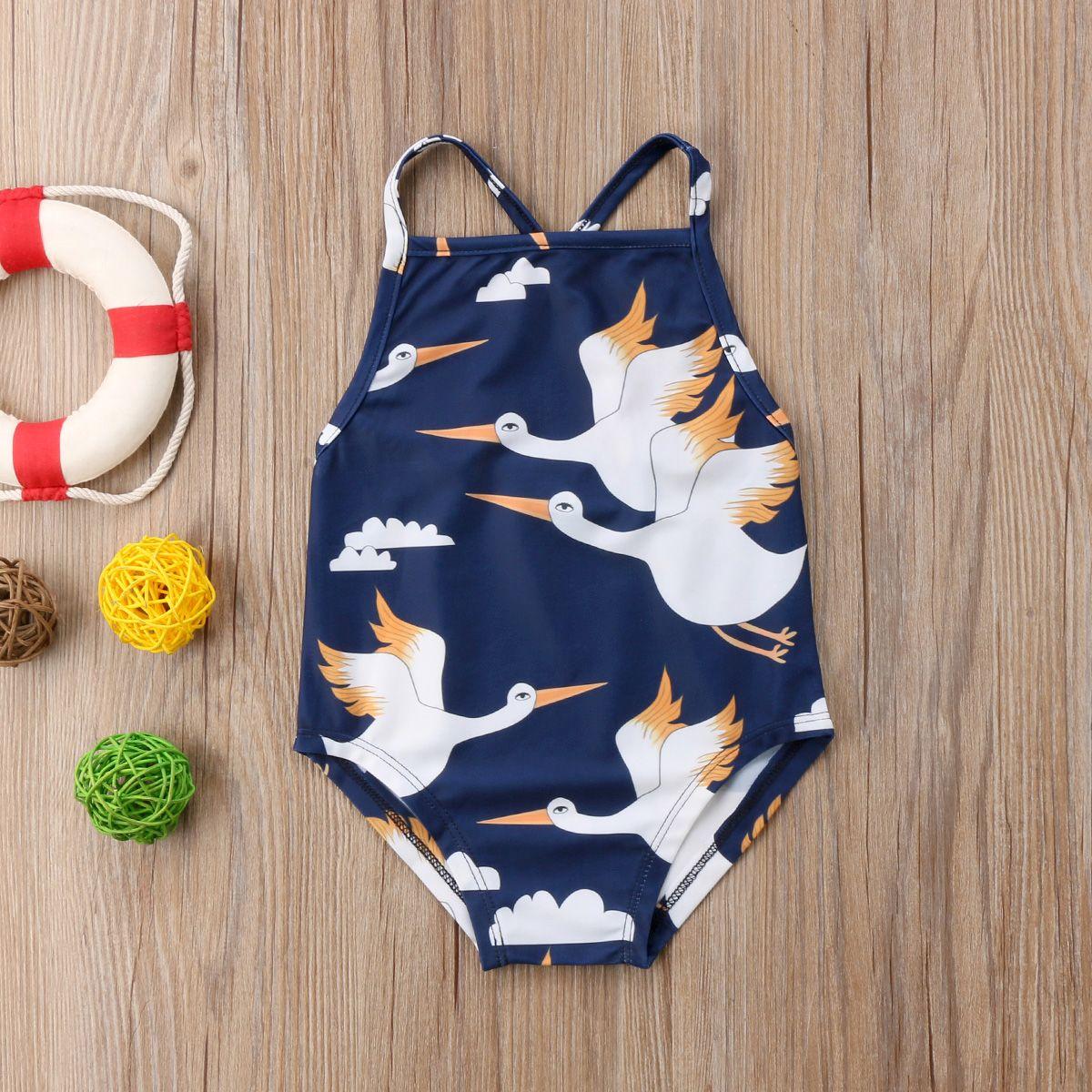 New Baby Girls Animal Swimwear Kids One-piece Bowknot Summer ...