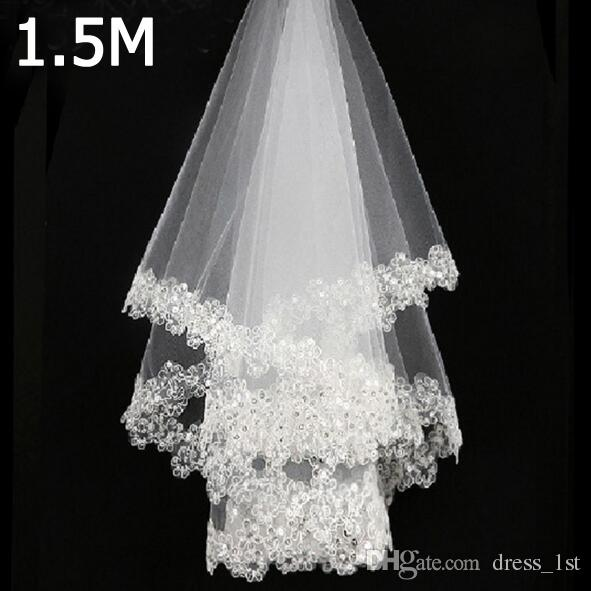 Cheap Beads Lace Applique Wedding Veils 2018 New White Ivory Tulle Short Bridal Vel High Quality EN2082