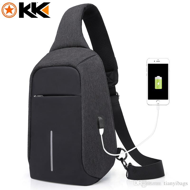 879a67e69 KAKA USB Sling Bag for Men Women Chest Bag Large Capacity Waterproof ...