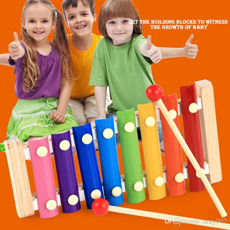 wood hand knocks the xylophone serinette Eight piano the eight scales on piano digital alphabet blocks Children's baby toy piano gift DHL 04