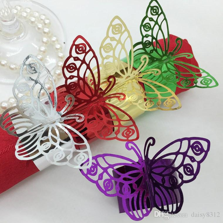 F4 Laser Cut Hollow Butterfly Paper Card Napkin Ring Serviette Buckle Holder Hotel Wedding Party Favour Decoration