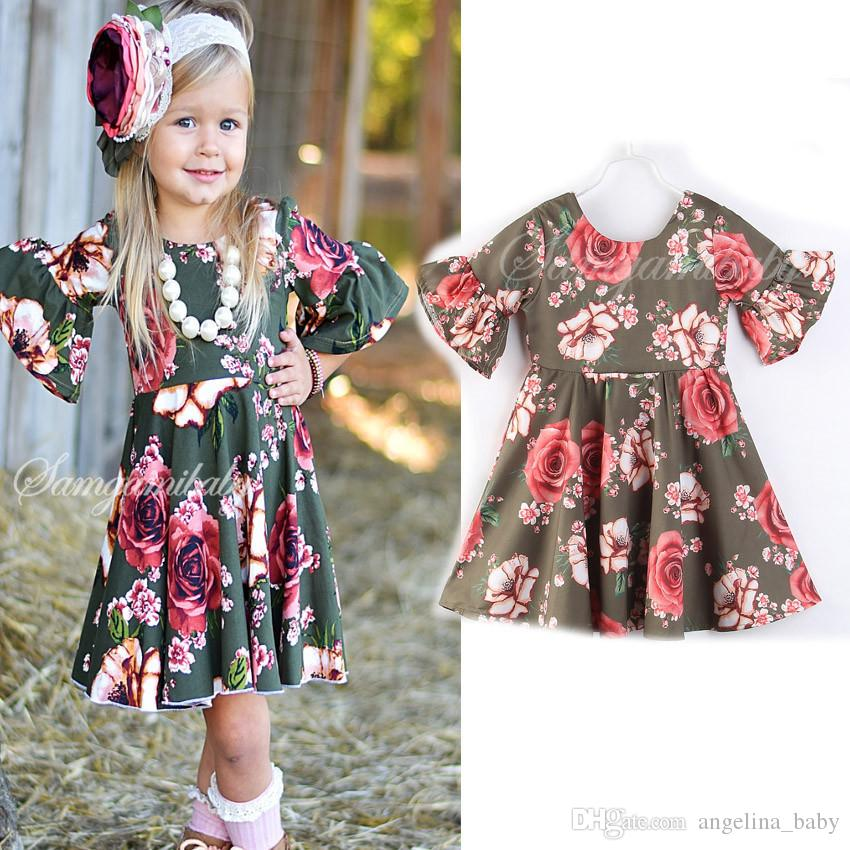 Compre 2018 Moda Bebé Niñas Vestidos De Ropa Para Niños Ropa De Algodón  Floral Princesa Vestido De Verano Niña Niños Vestidos Boutique Ropa Infantil  A  7.04 ... c013d838628
