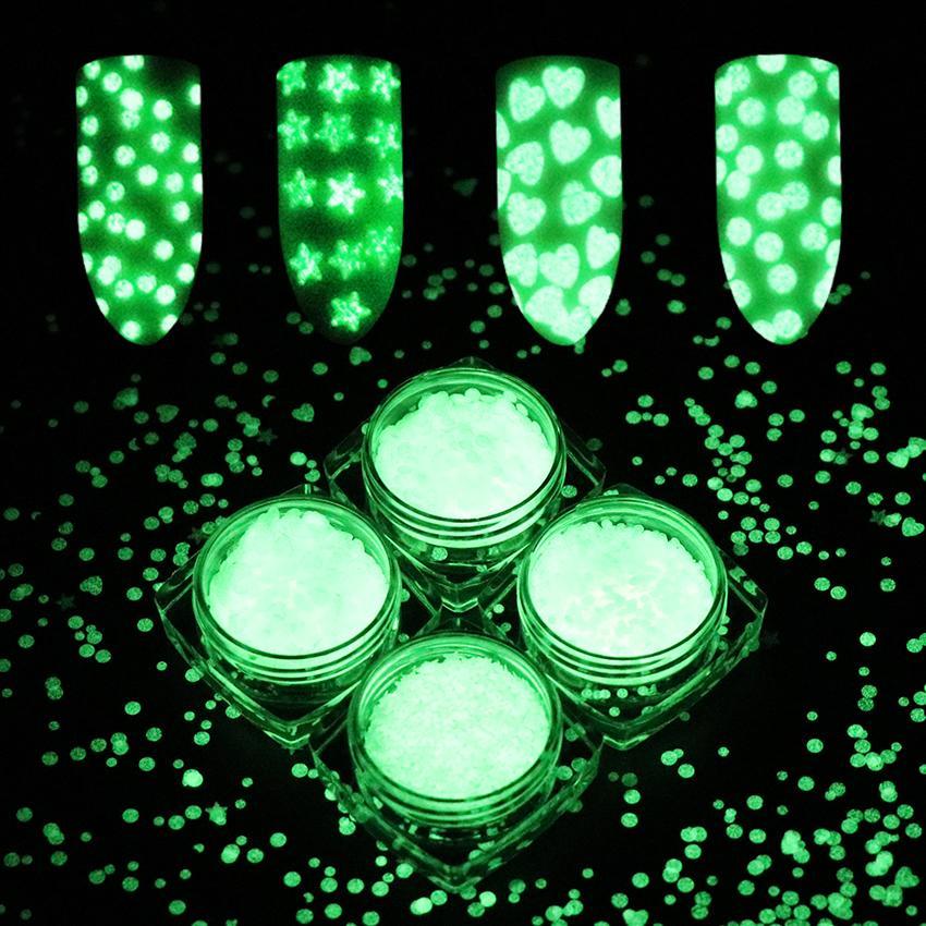 Nails Art & Werkzeuge 1mm 3mm Ultradünne Nagel Glitter Flakes 1g Fluoreszierend Leuchtenden Nail Art Pailletten Glow In The Dark Herz Stern Runde Pulver