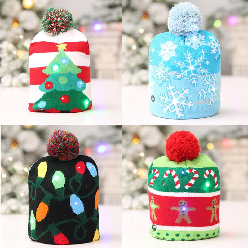 Funny Led Light Knitted Christmas Hat Kids Adults Hat Xmas New Year ...